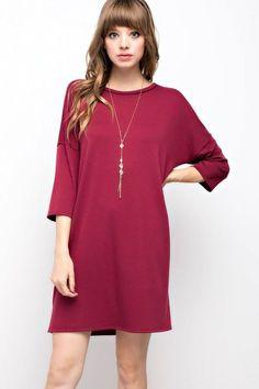 Paisley Shift Dress - Burgundy