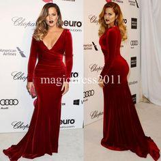 Khloe Kardashian 2015 Plus Size Burgundy Mother's Dresses Long Sleeves Mermaid Velvet Red Carpet Celebrity Dress Mother of the Bride Dress Online with $80.11/Piece on Magicdress2011's Store | DHgate.com