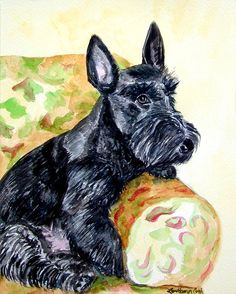 The Perfect Guest - Scottish Terrier Painting by Lyn Cook