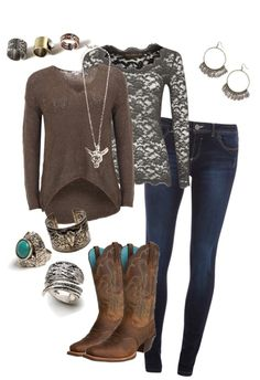 """.. cowgirl chic .."" by mattiestockman on Polyvore  I would wear different shoes"