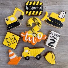 2nd Birthday Boys, 2nd Birthday Party Themes, Second Birthday Ideas, Happy Birthday, Tractor Birthday, Birthday Banners, Farm Birthday, Birthday Invitations, Construction Cookies