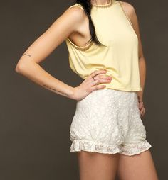 Kåbél bloomers white lace ruffled shorts with by rebecahryan, $76.00