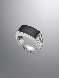 Sterling silver and black onyx ring. Men's Jewelry | David Yurman