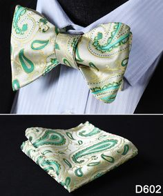 Very chic Bow Tie Plus Pocket Square. For all those special occasions when you need something extra. Weddings, anniversaries, graduations... Paisley Floral Jacquard Woven Houndstooth 100% Silk. - Bow