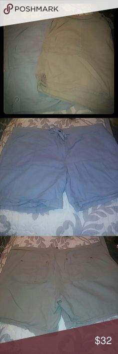 """Bandolino 2 bundle linen/rayon shorts EUC. Sz12 Super affordable shorts in Comfy material. They are so nice on and easily wash, dry & lightly iron or steam! Ladies 12 with a 5"""" inseam, 18"""" waist lagging flat. 4 pockets, button, zipper & tie. Grab this bundle deal. Add in the Miss Me top or other top for a 30% bundle discount! Happy summer sale. They don't fit or I'd be keeping these! Bandolino Shorts"""