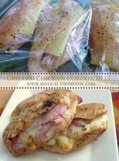 Joyously Domestic: Grilled Chicken Cordon Bleu (click photo for recipe) - Ingredients:  4 large boneless, skinless chicken breasts 8 slices thinly-sliced deli ham 4 slices Swiss or Havarti cheese, each slice cut in half Salt Pepper Olive Oil