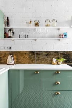 mint green kitchen c