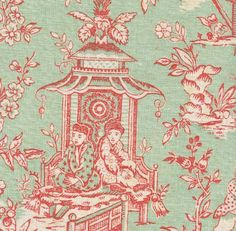 Toile de jouy fabric in soft green and raspberry