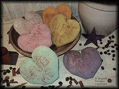 Set of 6 primitive Valentines Conversation Hearts bowl fillers for sale handmade by Megans Primitive Cupboard! ~SOLD~