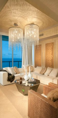 Beautiful room, amazing chandeliers and stunning view.  What more could you ask for?  DKOR Interiors charisma design