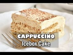 Cappuccino Icebox Cake - easy, no bake treat with graham crackers softened with airy cream-yogurt-cappuccino filling; only 6 ingredients Desserts For A Crowd, No Bake Desserts, Easy Desserts, Dessert Recipes, Sin Gluten, Brownies, Icebox Cake Recipes, No Bake Treats, Coffee Cake