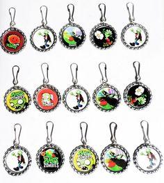 Plants vs Zombies Set of 15 Bottle Cap Necklaces for Party Favors | gingasgalleria - Children's on ArtFire