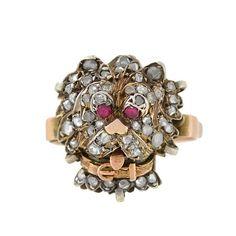 Victorian 10kt/Silver Rose Cut Diamond & Ruby Dog Ring