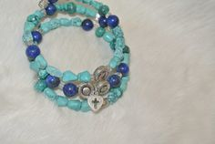 Lapis Turquoise & Pewter Wrap Bracelet by StJohnGallery on Etsy, $40.00