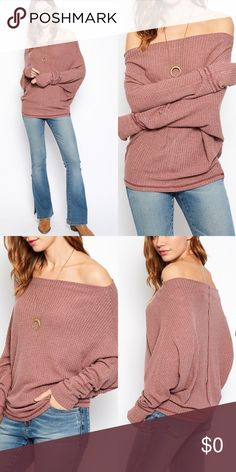 Off The Shoulder Sweater Top- DUSTY PINK Off The Shoulder Sweater Top. 35% Cotton 65% Polyester Tops