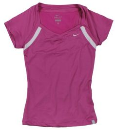 NIKE BORDER SS TOP (WOMENS) - XS by Nike. $45.00. Dri-FIT stretch jersey tennis short-sleeve top. Back panel is Dri-FIT mesh to increase airflow and cooling. A subtle V-neck with contrasting border detail adds color pop and style. Border wraps to under arm for flattering look. Woven Tennis Court label at bottom left hem. Swoosh design trademark embroidered at left chest. Body Dri-FIT 185g. 87% polyester/13% spandex plain jersey. Body white Dri-FIT 237g. 92% polyes...