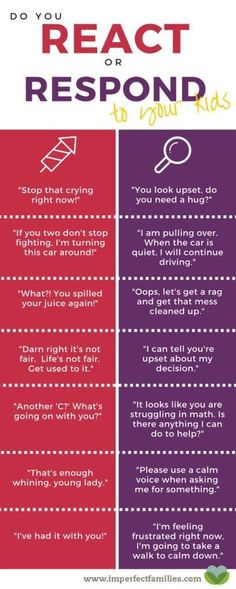 You React or Respond to Your Kids? Examples of how we react vs. respond to our kids. This is awesome parenting advice for curating your words!Examples of how we react vs. respond to our kids. This is awesome parenting advice for curating your words! Gentle Parenting, Kids And Parenting, Parenting Hacks, Parenting Classes, Parenting Quotes, Parenting Styles, Peaceful Parenting, Parenting Websites, Natural Parenting