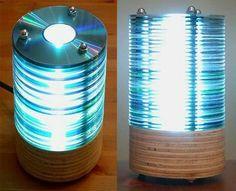Lampe aus alten CDs