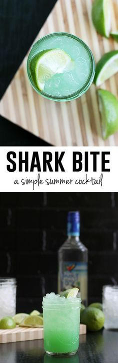 Summer time means bringing a beach vibe to the cocktail list, and this Shark Bite cocktail is perfect to sip during the long and often hot summer afternoons. Coconut Rum, Pineapple Juice, Blue Curacao and Lime. Beach Drinks, Party Drinks, Cocktail Drinks, Fun Drinks, Cocktail Recipes, Beverages, Cocktail Night, Pisco Sour, Margarita