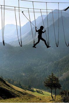 Skywalking in the Alps   Looks like fun!