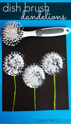 Dish Brush Dandelions Craft for Kids - Fun for a summer art project! | CraftyMorning.com