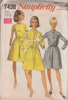 MOMSPatterns Vintage Sewing Patterns - Simplicity 7438 Vintage 60's Sewing Pattern SHARP Mad Men Jackie O Front Pleated Skirt Day Dress, Nehru Collar Cropped Jacket