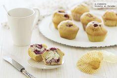 Muffins de frambuesas y corazón de mascarpone