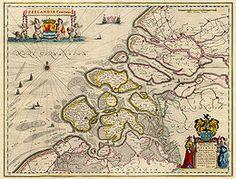 Kaart van Zeeland uit 1643. Gemaakt door Joan Blaeu.