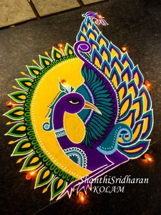 #peacock#mandala#kolam#rangoli#yellow#purple#green#round