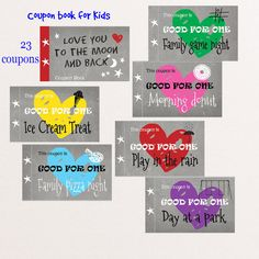 This is an instant download file of our print: Love you to the moon and back Kids coupon book. 21 written coupons plus 2 blank coupons.  •Print on an 8.5 x 11 sheet. Print on heavy white card stock for sturdy coupons. Cut, combine, and staple, use binder clip, or punch hole through the left side two stars and tie book with string.  •You will be receiving three PDF files with 21 written coupons and 2 blank for you to write your personal coupon. •Watermark or logo does not appear on actual…