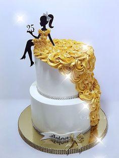25th Birthday Cakes, Elegant Birthday Cakes, Beautiful Birthday Cakes, Birthday Cakes For Women, Birthday Cake Girls, Cake Decorating Videos, Birthday Cake Decorating, Cake Decorating Techniques, Cake Designs For Girl