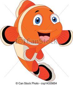 Clipart Vector Of Cute Clown Fish Cartoon