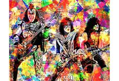 KISS Kiss rock band Gene Simmons Paul Stanley by PoolPartyPopArt