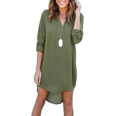 Casual Long-Sleeved Chiffon Dress – Trendy Quest