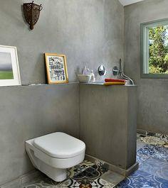 Fresh and stylish renovation of House N in Tel Aviv tiled bathroom floor