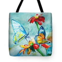 Butterfly Dance Tote Bag by Jasna Dragun.  The tote bag is machine washable, available in three different sizes, and includes a black strap for easy carrying on your shoulder.  All totes are available for worldwide shipping and include a money-back guarantee.