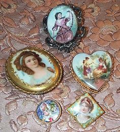 Antique Limoges Portrait Buttons & Scene Pins by tena_floyd, via Flickr