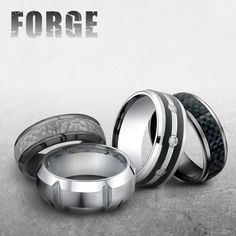 Tantalum, titanium, cobalt chrome and carbon fiber. If you are rough they are tough to handle anything you do. 🏋🏻💪🏼 #forgestrong #tantalum #roughntough #mansman #menstyle #mensfashion #menswear #everyday   Follow @benchmarkrings to see more content!  #forgeretailer #forgewk7  Style #: (L to R) CF675483TA, CF610449CC, CF995623CC & CF68478CFTA.