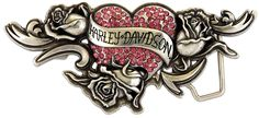 Harley-Davidson® Womens Tender Heart Pink Crystals Buckle by LODIS