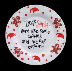 Christmas Plate - Cookies for Santa Plate - We Can Explain - Santa Bribery - Fun Home Decor - Personalized on Etsy, $25.00