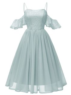 DressilyMe Bridal Dresses Online,Wedding Dresses Ball Gown, in stock beautiful lace chiffon spaghetti straps neckline knee length a line bridesmaid dress – Mode - Home & Women Mode Outfits, Dress Outfits, Fashion Dresses, Party Outfits, Night Outfits, Party Clothes, Ball Dresses, Ball Gowns, Prom Dresses