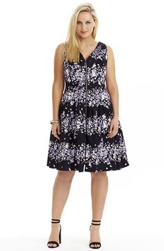 Zip Front Dress - Purple floral Style No: D2205 Stretch Sateen Summer drill fabric dress. This dress features a V neckline on the front and back. The front features a zip front and a pleat detail at the neckline. The skirt is full and has a tulle underlay at the hemline on the lining. #plussize #dreamdiva #dreamdivafiles