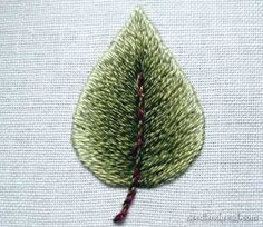 Long and Short Stitch Leaf  Embroidery Tip: the backstitch vs. split stitch controversy