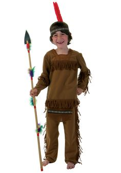 Child Boy Indian Costume  sc 1 st  Pinterest & Childu0027s INDIAN COSTUME Native American Indian Vest Pants and ...