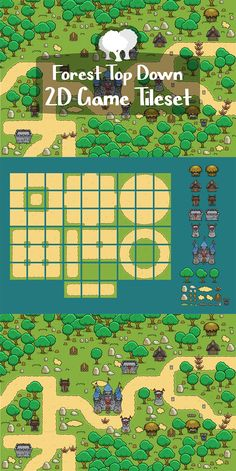 Forest Top Down Game Tileset is a high-quality set that will allow you to create levels. It is especially well suited for games such as Tower Defense Game Level Design, Board Game Design, Game Character Design, Character Concept, Sprites, Map Games, Pixel Art Games, Tower Defense, How To Pixel Art