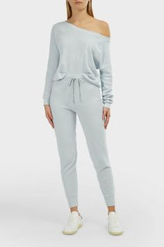 Wildfox Jack High-waist Ribbed Joggers In Light Blue Off Duty, Wildfox, High Waist, Joggers, Light Blue, Jumpsuit, Cotton, Shopping, Clothes