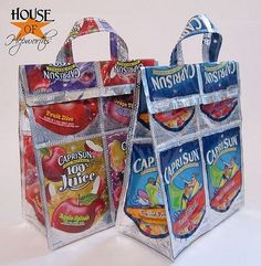 How to make Capri-sun purses, lunch sacks, and bags. houseofhepworths.com #caprisun #lunch #purse #diy #sew