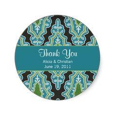 Classy Damask Turquoise Thank You Labels Sticker, www.zazzle.com