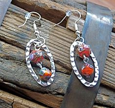 Red Czech Glass & Silver Dangle Earrings silver-plated yellow orange boho traditional drop round oval geometric hippie gypsy (6.99 USD) by FunNFiber