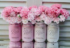 DIY pink painted mason jars from Mason Jar Crafts Love Diy Home Crafts, Decor Crafts, Arts And Crafts, Pot Mason Diy, Mason Jar Crafts, Pink Mason Jars, Vintage Mason Jars, Distressed Mason Jars, Painted Mason Jars